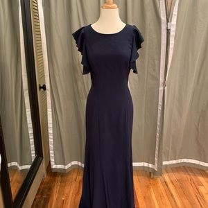 "Theia ""Selena"" gown in Navy crepe size 8"